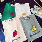 New Women Summer Basic T-shirt Cute Fruit Print Short Sleeve Tee Blouse TopsLAUS