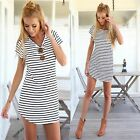 Womens Round Collar Stripes Mini Short Dress Middle Sleeve Cotton Shirt Dresses