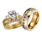 His and Hers Wedding Rings 3 pcs Engagement CZ Sterling Silver Titanium Set X