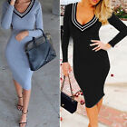 Fashion Womens Long Sleeve Low cut Slim fit Cottom Gray Black Dress LAX