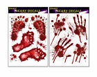 HALLOWEEN SCARY WINDOW STICKERS BLOODSTAIN HANDS & FOOTPRINTS PARTY DECORATIONS