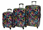 Expandable 4 Wheel Suitcase Hardshell ABS Square Print Spinner Trolley Black