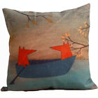 18'' Cute Fox Familiy Cotton Linen Pillow Cover Sofa Cushion Covers Pillow 45cm