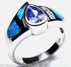 Tanzanite & Blue Fire Opal Inlay 925 Sterling Silver Solitaire Ring size 6-8