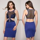 Women Ladies Sexy Hollow Out Netting Patchwork Coaktail Short Mini Dress TXWD