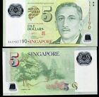 SINGAPORE 5 DOLLARS 2010 P NEW WITH 1 SQUARE POLYMER UNC