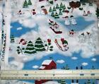 """SNOWMEN & FIR TREES on WHITE Cotton Quilting Fabric 45"""" wide units $8 per yard"""