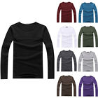 New Men's Casual Slim Fit Round Neck Long Sleeve T-Shirts Cotton Blend Blouses