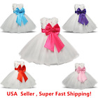 Wedding Party Flower Girl's Big Bow Dress Sparkle Tulle Pageant Formal Dress 2-8