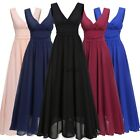 Women V Neck Drape Ruched Waist Evening Party Dress Long Maxi Dress TXWD