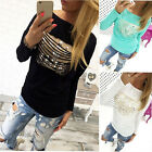 Sexy Women's Long sleeve Ripped TOP T-shirt Causal Fitted Shirts Size S-XL NEW