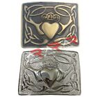 Brand New AAR Highland Kilt Belt Bukcle Claddagh pattern Antique/Chrome Finish