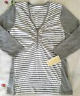 NWT Michael Kors T-shirt 3/4 sleeve V-neck shirt pearl heather grey women cotton