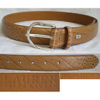 Lauren Ralph Lauren Belt Italian Leather Croco Silver Tan Brown Women Small (28)
