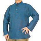 FAIR TRADE NEPALESE HEMP & COTTON NEHRU GRANDAD COLLARLESS KURTA SHIRT S - 3XL