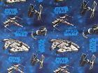 STAR WARS ship on blue : 100% LICENSED cotton  : by the 1/2 metre