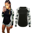 Fashion Women Camouflage Pattern Long-Sleeve T-Shirt Tops Blouse Pullover M-2XL