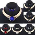 Fashion Women Rhinestone Pendant Statement Choker Collar Necklace Earrings Set