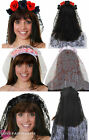 LADIES ROSE HEADBAND WITH VEIL DAY OF THE DEAD HALLOWEEN FANCY DRESS COSTUME