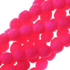 Czech Fire Polished Glass, 4mm Faceted Round Beads, 50 Piece Strand, Neon Pink
