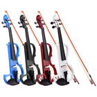 4/4 Electric Violin Full Right Handed Wood Size Silent Fiddle Headphone 4 Colors