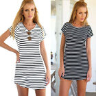 Charm Women Casual Dress Crew Neck Short Sleeve Striped Loose T-Shirt Mini