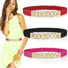 Women Lady Thin Skinny Metal Gold Buckle Waist Belt Elastic Waistband Fashion