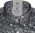 Shirt Black Silver Grey Paisley Men's Platinum Range Button down Cotton Relco