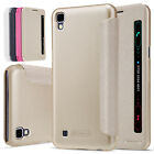 For LG X Power PU Leather Flip Quick View Smart Case Cover Protective Wake Sleep