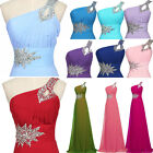 One Shoulder Bead Dress Long Evening Prom Gown Cocktail Party Bridesmaid Dresses