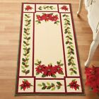Cream Colored Poinsettia & Holly Holiday Accent Rug Christmas Kitchen Home New