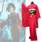 Japan Traditional Women Ryougi Shiki Cosplay Costume Red Furisode Anime Kimono