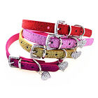 Love Heart Rhinestone Adjustable PU Leather Dog Puppy Pet Cat Collars Necklace