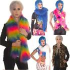 FAUX FUR FLUFFY SCARF ANIMAL PLAIN MULTI ALTERNATIVE