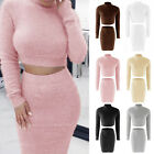 2 pcs Women's Bodycon Slimming Bandage Sweaters Crop Top and Skirt Ladies Set