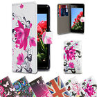 PU Leather Design Book Wallet Case Cover Sony Xperia Phones + Screen Protector