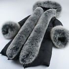 Luxury Women REAL FUR Collar Long Hooded Outwear Parka Thick Warm Coat Size New#
