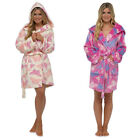 Foxbury Women's Butterfly Print Shimmer Fleece Short Hooded Bath Robe