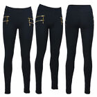 Womens Skinny Slim Fit Stretch Ladies Double Zip Leggings Jeggings Trouser Pants