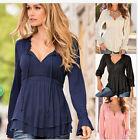 Hot Womens Casual  Long Sleeve Off Shoulder Lace Up Shirt Cocktail Tops Blouse