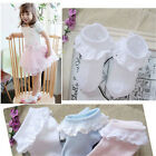 New Kids Toddlers Girls Solid Colors Cotton Pierced Lace Durable Baby Socks EW