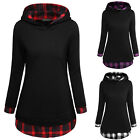 HOT SALE Women's Pullover Check Faux Twinset Tops Hoodie Sweatshirt Autumn Coats