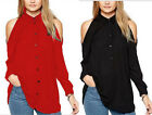 Casual Womens Blouse Chiffon Long Sleeve Lady shirt Off shoulder Tops plus size