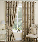 Autumn Floral Leaf Trail Quality Pair Of Curtains With A Ring Top Eyelet Header