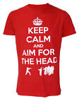 Darkside Clothing Keep Calm And Aim For The Head Men's T-Shirt, Zombie, REC DEL