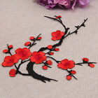 Embroidered Plum Blossom Patches Iron Sew on Applique Motif Flower Badge Craft