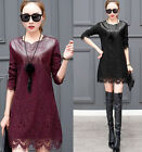 Ladys thicken Lace tops Long Sleeve Mini Dress Cocktail dress shirt plus size
