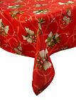 Festive Red Holly Bow Christmas Tablecloth 100% Polyester Xmas Home Table Linen