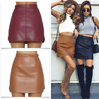 Fashion Womens Lady Faux Leather Fringe High Waist A-Line Mini Party Skirt