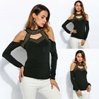 Sexy Women Long Sleeve Off Shoulder Women Casual Sequines Blouse Tops Fashion